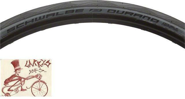 SCHWALBE DURANO DOUBLE DEFENSE GRAPHITE SKIN 700 X 25 FOLDING TIRE