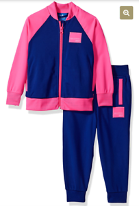 best sell hot product sleek Details about Adidas EQT Equipment Infant Girls Tracksuit Sweatsuit Pink  Blue 3 Stripe 18 mo