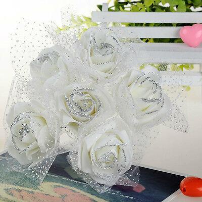 Wedding Flowers 6pcs Cheap White Foam Rose Artificial Party Bride Bouquet Decor