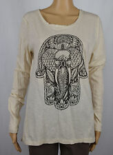 Lucky Lotus Womens Beige Long Sleeve Graphic T-Shirt Blouse Top M