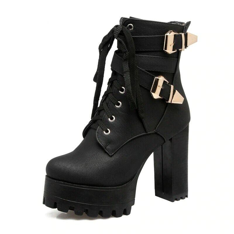 per offrirti un piacevole shopping online Plus Dimensione 33-50 Donna Donna Donna  Ankle stivali 11cm High Heels Platform Lace Up scarpe  Prezzo al piano