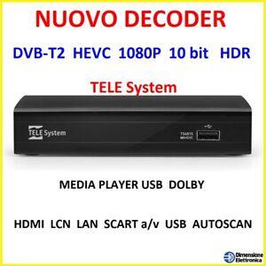 Decoder Digitale Terrestre dvb-t2 hdmi usb telecomando tv ricevitore h265 1080p