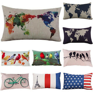 World map linen waist throw flax pillow case sofa bed cushion cover image is loading world map linen waist throw flax pillow case gumiabroncs Gallery