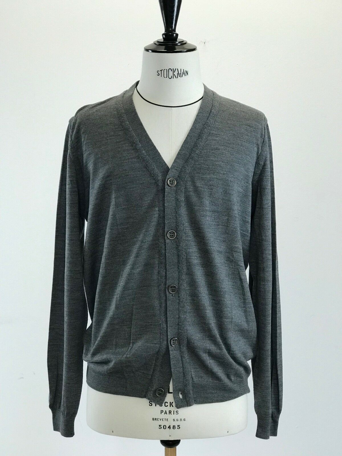 BALLY Herren Cardigan Strickjacke Neu ohne Etikett Grau Gr. 52 Superfine Wool