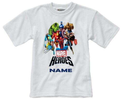 MARVEL SUPERHEROES PERSONALISED CHILDS T-SHIRT