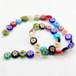 50pcs Charms Round Glass Gold Millefiori Beads Spacer Findings 8//10mm