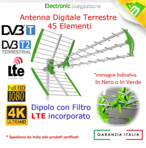 ANTENNA TV DIGITALE TERRESTRE 45 ELEMENTI UHF DVB-T2 HD ALTO GUADAGNO LTE 21-60