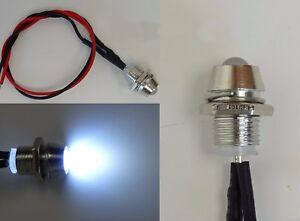 LED Weiß 3mm Chrom Metall Fassung Schraube 9V - 12V Anschlußfertig C2694