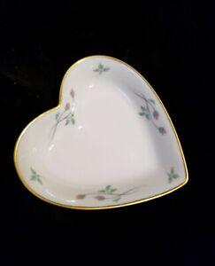 Vintage Lenox Rose Manor Heart Shaped Candy Trinket Ring Dish 24K Gold Trim