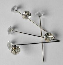"200 Clear Gem Diamond Cut 1.5"" Pins Diamante Bling for Bouquets Wedding Flowers"