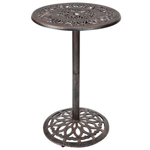 Image Is Loading Cast Aluminum Round Bar Table Height Outdoor