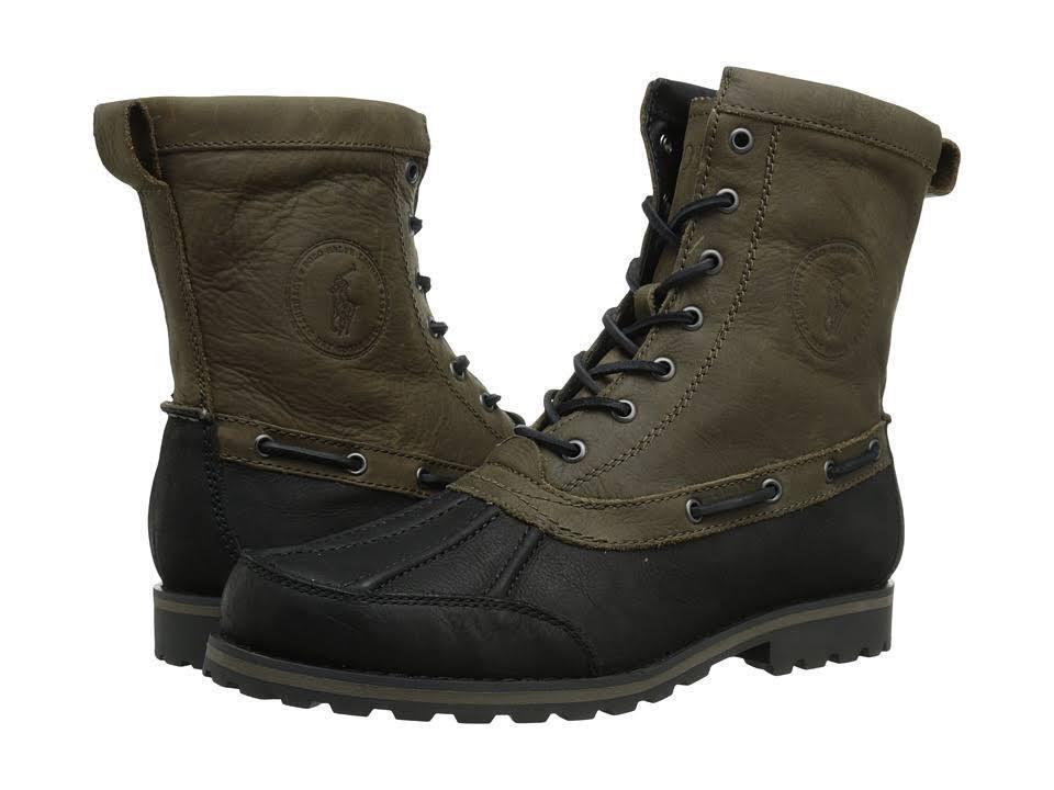Polo Ralph Lauren 812515613004 Whitsand Mn' (M) Negro gris Cuero botas de pull-up