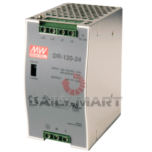 MEAN WELL DR-120-24 DR12024 POWER SUPPLY 24V 120W DIN-RAIL NEW