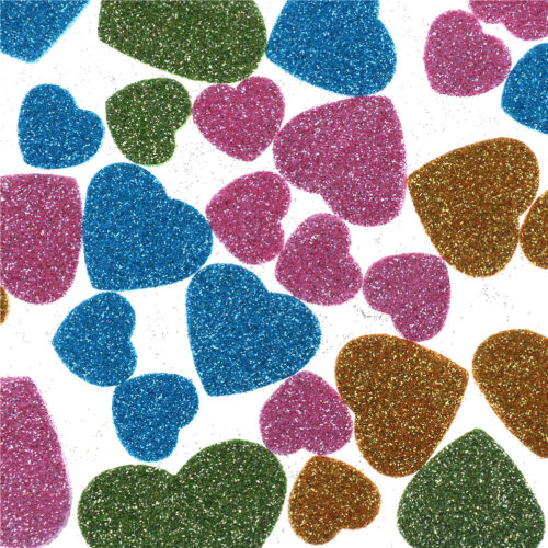 Glitter Foam Heart Shaped Sticker Scrapbooking Art.Craft Adhesive Home Decor、~