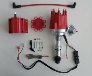 small cap OLDSMOBILE 350,400,403,455 Red HEI Distributor+CHROME Coil+PLUG WIRES Distributors & Parts
