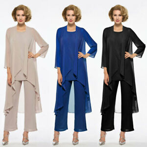 Details about Plus Size Mother Of the Bride Pant Suits Outfit Wedding Guest  Dress Long Sleeves
