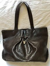Furla Reptile Print Brown Leather Handbag Tote with Care Instructions