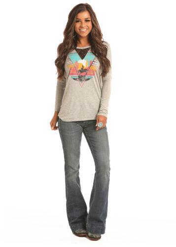 Rock /& Roll Cowgirl Juniors Heather Grey Desert Bronc Long Sleeve Tee 48T2863