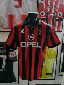 Maillot-jersey-maglia-shirt-ac-milan-weah-1995-1996-Opel-95-96-vintage-rare-L