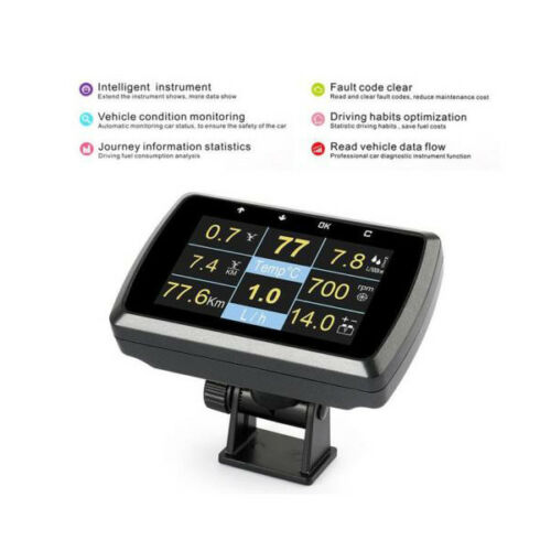 Great OBD2 OBDII Gauge with Holder Driving Speed Meter Fuel Water Temp Display