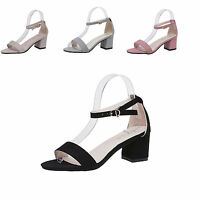 WOMENS BLOCK LOW HEEL PEEP TOE LADIES BUCKLE ANKLE STRAP SANDALS SHOES SIZE 3-8