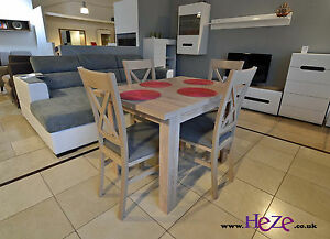 Dining set Extending table and 4 solid wood chairs in oak sonoma small size - <span itemprop='availableAtOrFrom'>Tipton, United Kingdom</span> - Dining set Extending table and 4 solid wood chairs in oak sonoma small size - Tipton, United Kingdom