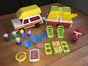 Vintage 1970s Fisher Price Little People Family Car & Pop Up Camper With Extras