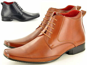 Image is loading New-Mens-Italian-Style-Leather-Lined-Formal-Chelsea-