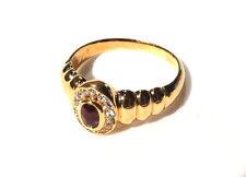Bijou alliage doré bague fantaisie  cristal rouge et strass occasion ring