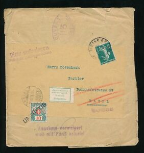 FRANCE 1918 WW1 NEWSPAPER WRAPPER POSTAGE DUE SWITZERLAND + CENSOR 113 + REFUSE