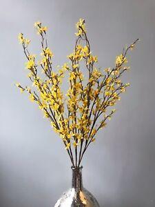 Bunch Artificial Yellow Forsythia Branch Faux Silk Spring Easter