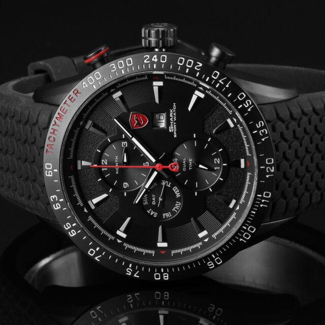 Blacktip Shark Men's Black Date Stainless Steel Day Military Sport Quartz Watch
