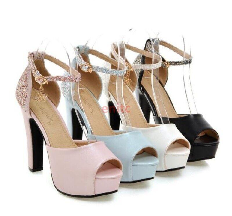 2019 Sequin Peep Toe Platform Block Heels Womens Bridal shoes Sandals Plus Size