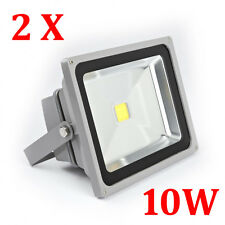 2 x 10W LED Floodlight Power Day Cool White Outdoor Security Light with Plug