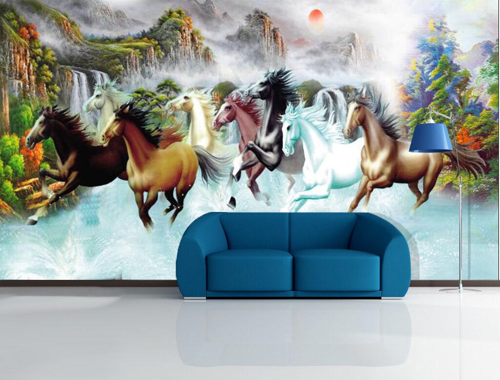 3D River Running Horses 39 WandPapier Decal Dercor Home Kids Nursery Mural Home