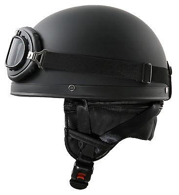 Motorradhelm mit Brille WH1 M 57-58cm Schwarz matt Oldtimer Retro Stahl Helm