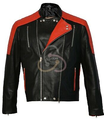 Men/'s Brando Classic Biker Red and Black Vintage Motorcycle Real Leather Jacket