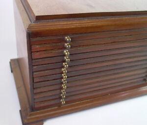 Holzschatulle - Holzkasten mit 12 Schüben - für Linsen od. Münzen