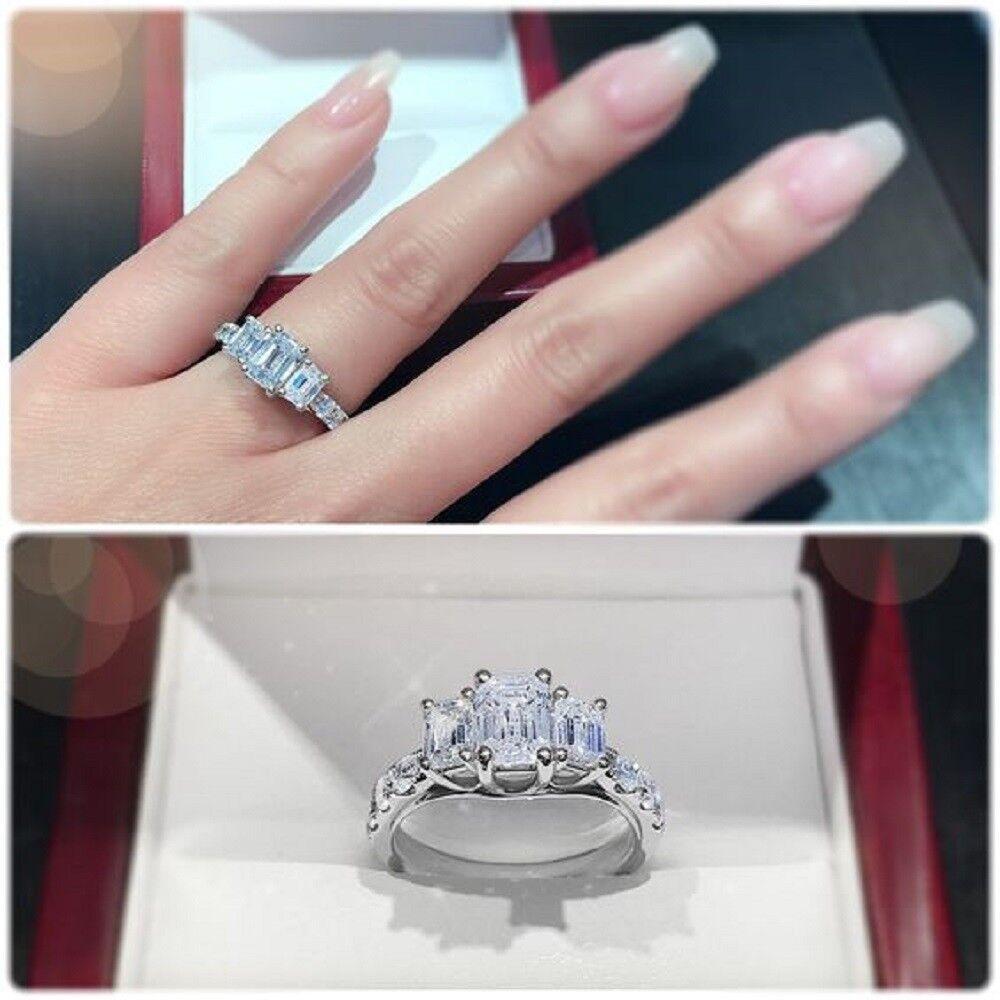 3.00Ct Emerald Three Stone Diamond Engagement Wedding Ring 14k Real White gold