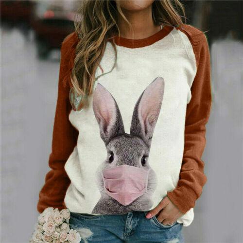 Womens Rabbit Cat Animal Print Tops Casual Boho T-Shirt Tunic Pullover Blouse UK