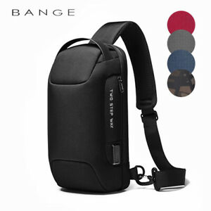 BANGE 2020 Men's Chest bag Anti-theft lock waterproof with USB charging