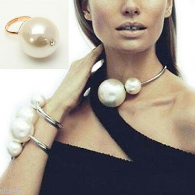Fashion Women New Faux Pearl Bib Statement Chunky Choker Collar Necklace Pendant
