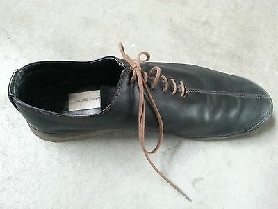 Fausto Santini shoes 37Black and brown leather lace shoes Italian shoes  Italian leather Black leather Sneak ers Black leather Basket