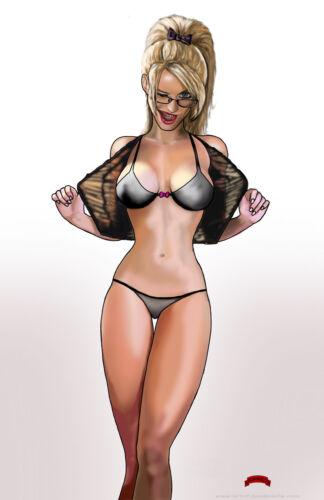 Gimme that wink bra panties nerd fantasy mature 11x17 signed print Dan DeMille