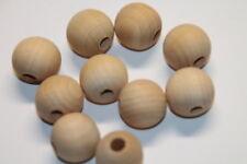 10x Holzperlen - Holzkugeln - Ø 18 mm - rund - Birke natur - nicht lackiert