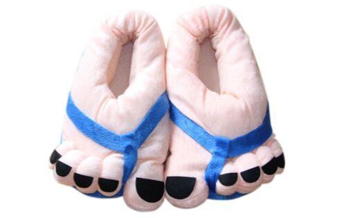 NewWinter Warm Funny Cute Cartoon Big Feet Beige Soft Velvet Home Floor Slippers