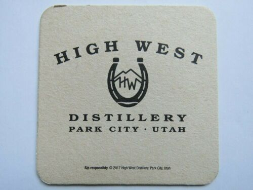 HIGH WEST Distillery ~ Park City Beer Bar Coaster UTAH ~ Horseshoe /& Mountains