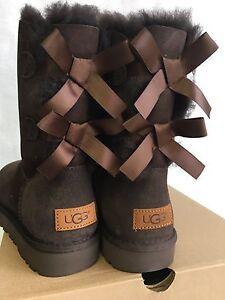 d90ac1f95 Image is loading UGG-Australia-Chocolate-BAILEY-BOW-II-SUEDE-SHEEPSKIN-