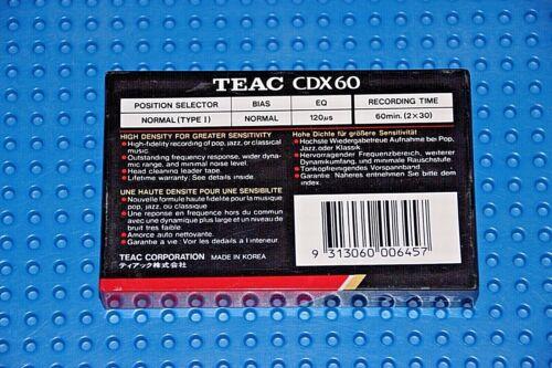 SEALED 1 TEAC      CDX   60    BLANK CASSETTE TAPE
