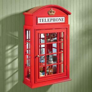 British Red Public Telephone Box Phone Booth Collector Curio Cabinet
